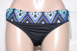 NWT Kenneth Cole Black Ocean Blue Fold Over Ruch Sides Bikini Swim Botto... - $2.99