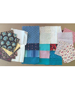 28 Vintage Fabric Squares for Quilting & Crafts • Prints Florals Solids ... - $9.85