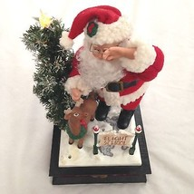 Lighted Santa & Deer Flight Deck Music Box play... - $20.30