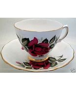COLCLOUGH FINE BONE CHINA Classic Red Rose TEA CUP SET - $21.99