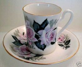 Pink Retro Rose Bone China Royal Grafton Demitasse Set - $19.99