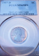 1957  D MS65 BN LINCOLN WHEAT CENT *RAINBOW  TONING *  5488 . image 2