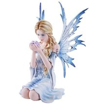 10.75 Inch Fairyland Blue Winged Fairy with Flowers Statue Figurine (10.75) - £53.60 GBP