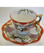 Late 1930 JAPAN Demitasse TEACUP SET HAn Painted  Wisteria and  Love Birds - $48.50