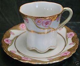 Swirling Golden Art Nouveau Rose Bone China Demitasse - $128.00