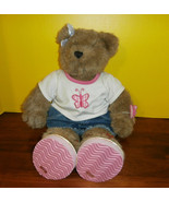 "Bear in Blue Jean Shorts Top Sandals Butterfly Build a Bear 18"" Girl - $19.34"
