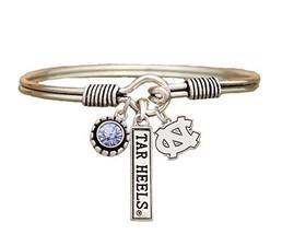 An item in the Sports Mem, Cards & Fan Shop category: North Carolina Tar Heels 3 Charm Blue Crystal Silver Wire Bracelet Jewelry UNC