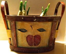 Oval Wood Basket w/ Dark Red Apple Motif + Fitted Plastic Li - $5.00