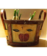Oval Wood Basket w/ Dark Red Apple Motif + Fitted Plastic Li - $5.00