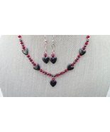 Hematite Hearts Swarovski Red Necklace Earrings... - $39.99