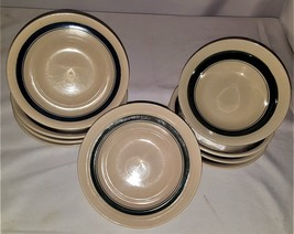 9 Piece Counterpoint Stoneware Japan Cereal Bowl Blue/Green Strip Hand P... - $29.70