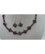 Hematite Swarovski Necklace Earrings Red  Handmade - $42.99