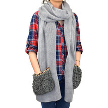 "100"" Long Pocket Scarf Solid Color Leopard Two Shade Ruffles Knitted Winter - $12.49"
