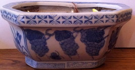 Octagonal Blue & White Ceramic Planter w/ Floral Design ~ Pre-Owned - $8.00