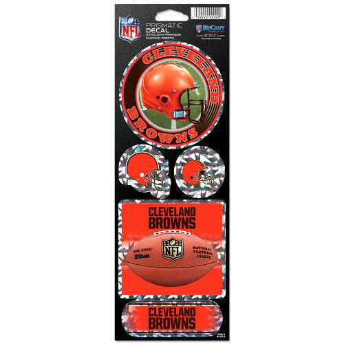 CLEVELAND BROWNS PRISMATIC HOLOGRAPH STICKER DECAL SHEET OF 5 NFL FOOTBALL