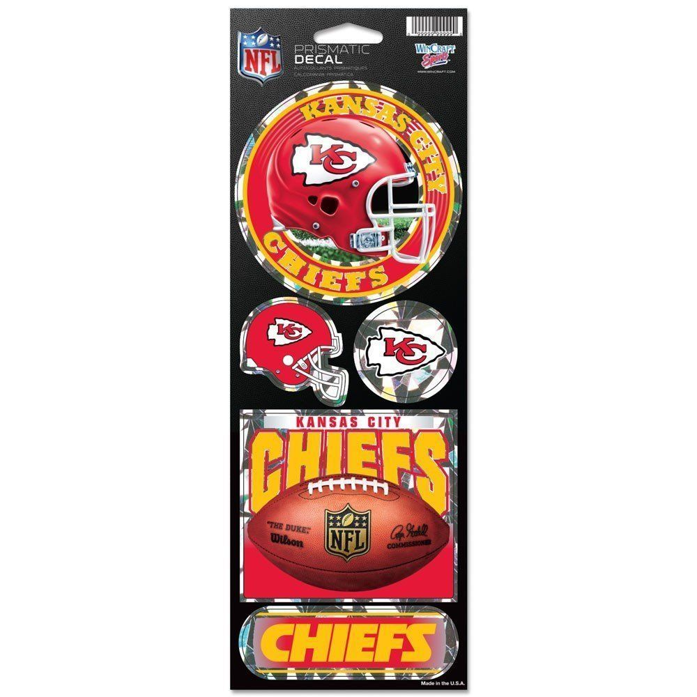 KANSAS CITY CHIEFS PRISMATIC HOLOGRAPH STICKER DECAL SHEET OF 5 NFL FOOTBALL