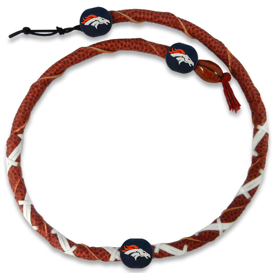 DENVER BRONCOS GENUINE LEATHER SPIRAL NFL FOOTBALL TEAM LOGO NECKLACE