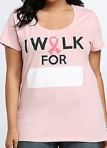 New Torrid Womens Plus Size 4 X Breast Cancer I Walk For     T Shirt Top Powerful - $16.44