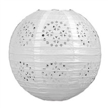 "3 white paper lace pattern lanterns 8"" diameter wedding party decorations - $13.61"