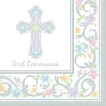 "Lavender Cross Luncheon Napkins (36pcs) 13""x 13"" First Communion - $8.90"