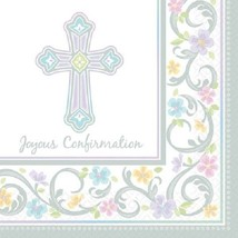 "Lavender Cross Luncheon Napkins (36pcs) 13""x 13"" Joyous Confirmtion - $8.90"