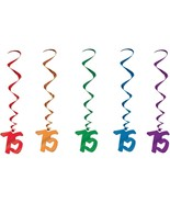 Number 75 Whirls (5pc pkg) multi color BIRTHDAY OR ANNIVERSARY DECORATION - $7.91