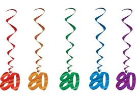 Number 80 Whirls (5pc Pkg) Multi Color Birthday Or Anniversary Decoration - $7.91