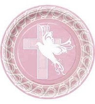 "Pink Dove Cross Luncheon plates (8pcs) 9"" dia Communion Confirmation baptism - $6.13"