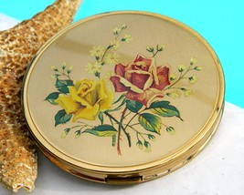 Vintage Powder Mirrored Compact Melissa England Roses 1950s - $29.95
