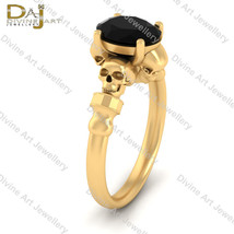 Solid 10k Yellow Gold Gothic Skull Wedding Ring Womens Gothic Halloween ... - £531.40 GBP