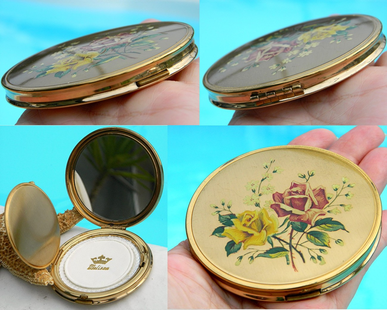 Vintage Powder Mirrored Compact Melissa England Roses 1950s
