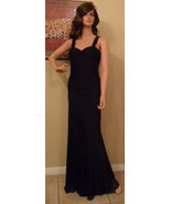 A.B.S. Black Silk Chiffon Ruched Gown Dress Size 4 NEW (MAKE AN OFFER) - $187.11
