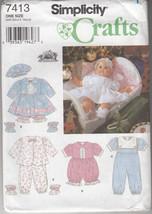 Simplicity 7413 Doll Clothes Pattern Dress, Panties, Jumper, Booties - $8.07