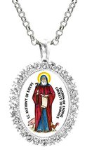 St Anthony of Egypt of Animals Cz Crystal Silver Necklace Pendant - $19.95