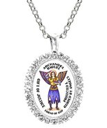 Archangel Raguel Gift of Justice Friend of God Cz Crystal Silver Necklac... - $19.95