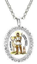 St Hubert Against Killing Animals Cz Crystal Silver Necklace Pendant - $19.95