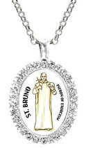 Saint Bruno Patron of Exorcism Cz Crystal Silver Necklace Pendant - $19.95