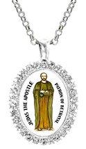 Judas Apostle Patron of Betrayal Cz Crystal Silver Necklace Pendant - $19.95