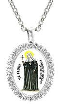 St Flora Patron of Victims of Betrayal Cz Crystal Silver Necklace Pendant - $19.95