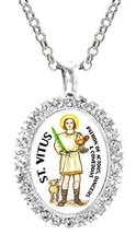 St Vitus Patron of Actors, Comedians, Dancers Cz Crystal Silver Necklace... - $19.95