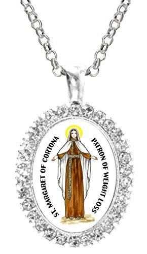 St Margaret of Cortona Patron of Weight Loss Cz Crystal Silver Necklace Pendant