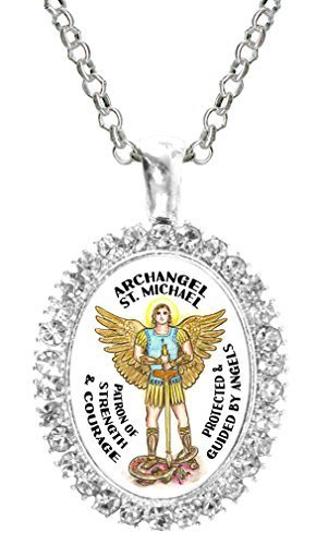 St Michael Archangel of Strength & Courage Cz Crystal Silver Necklace Pendant