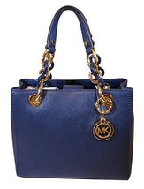 Michael Kors Cynthia SMALL Leather Satchel in NAVY - $286.11