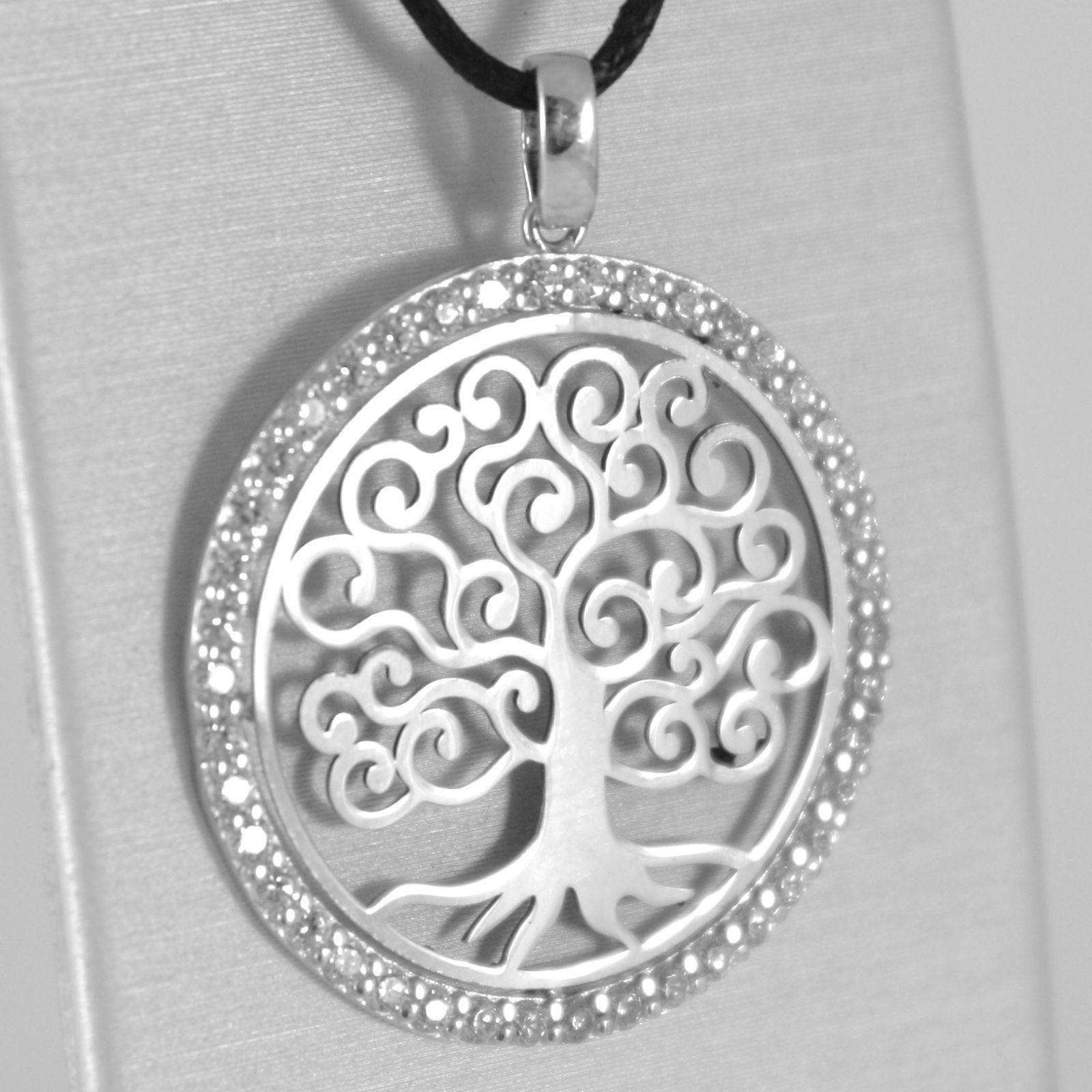 WHITE GOLD PENDANT 750 18K, TREE OF LIFE, FRAME ZIRCON, MADE IN ITALY