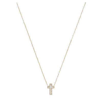 Primary image for MKJ4184 Michael Kors Cross Pendant Necklace Gold Tone Crystal Pave