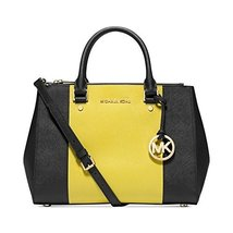 MICHAEL Michael Kors Large Sutton Center Stripe Satchel in Black & Apple - $333.63