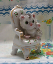 Vintage Kitsch Kitty in Porcelain Chair, Cat Figurine, Made in Japan - $12.00
