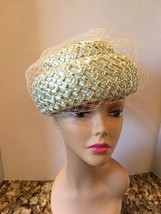 "Vintage Miss Eileen Blue Faux Straw Hat Green Ribbon Netting 7 1/2"" With... - $16.62"