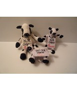 Chick Fil A Set Of 3 Plush Stuffed Cows with signs 2012,2014  Great Set... - $11.88