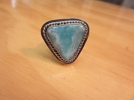 Navajo Sterling Silver Triangular Larimar Ring By George NAKAI Size 9 Ad... - €104,84 EUR